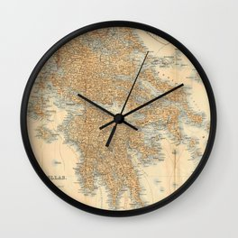 Vintage Map of Greece (1894) Wall Clock