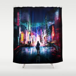 Tokyo Cyberpunk Japan Shower Curtain