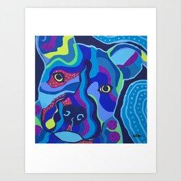 Blue Pitbull Portrait Art Print