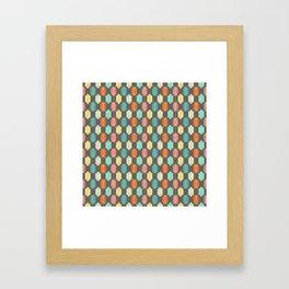 Midcentury Hexagon Argyle on Grey Framed Art Print