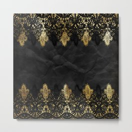 Simply elegance - Gold and black ornamental lace on black paper Metal Print