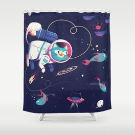 The Adventures of Space Cat Shower Curtain