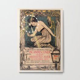 Italian art nouveau street gas lighting ad Metal Print
