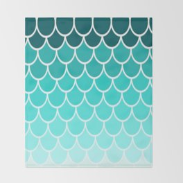 Ombre Fish Scale Pattern Throw Blanket