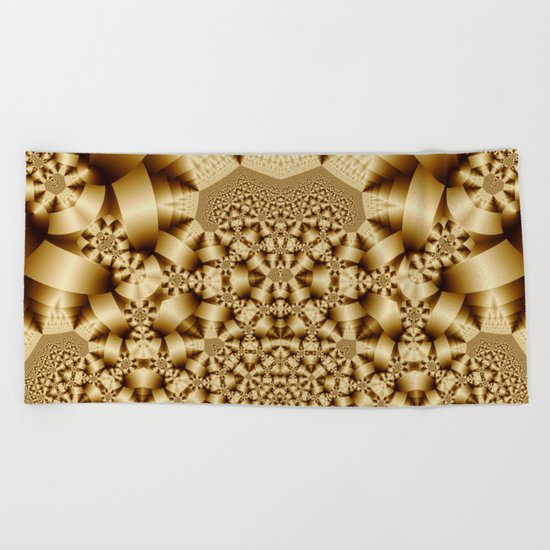 Golden shapes and patetrns in 3-D Beach Towel