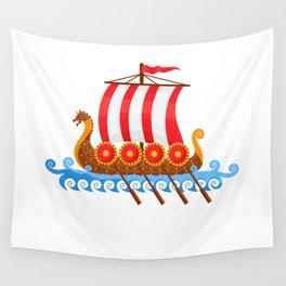 Cartoon Viking Ship Wall Tapestry