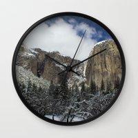 yosemite Wall Clocks featuring Yosemite by Michelle Chavez
