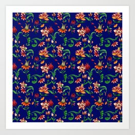 Fantasy pattern of various colors on Royal blue background Art Print
