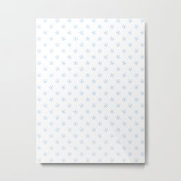 Baby Blue on White Snowflakes Metal Print