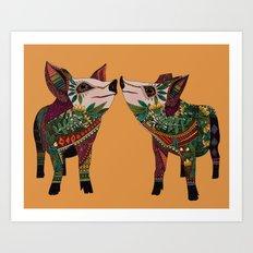 pig love amber Art Print