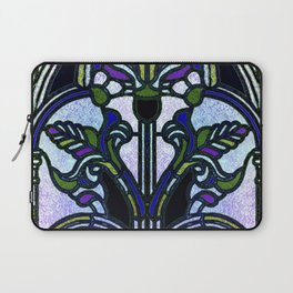 Blue and Green Glowing Art Nouveau Stain Glass Design Laptop Sleeve