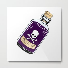 Emotions - tattoo inspired poison bottle illustration  Metal Print