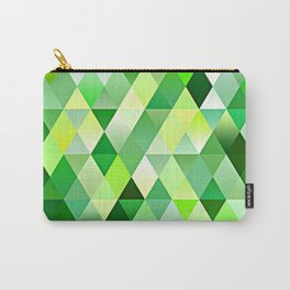 Chic Bright Lime Green Yellow Funky Retro Triangles Mosaic Pattern Carry-All Pouch