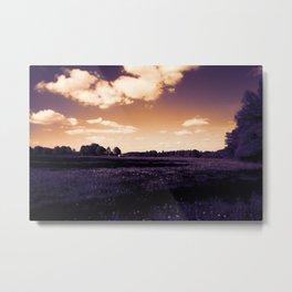 meadow barn clouds ls Metal Print