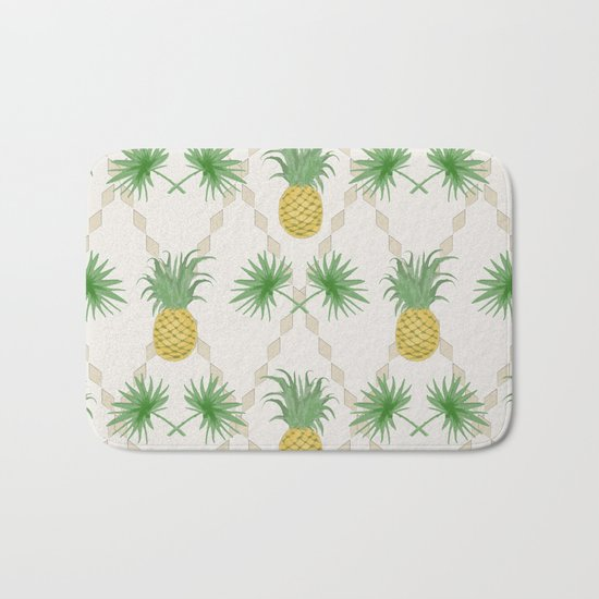 Exotic tropical seamless pattern with palm branches and pineapples . Bath Mat