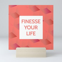 Finesse Your Life - Living Coral Typography Mini Art Print