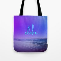 aloha Tote Bags featuring Aloha by Leah Flores