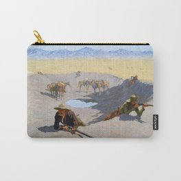 12,000pixel-500dpi - Frederic Remington - Fight for the Waterhole - Digital Remastered Edition Carry-All Pouch