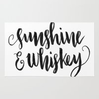 whiskey Area & Throw Rugs featuring SUNSHINE & WHISKEY by Corina Rivera Designs