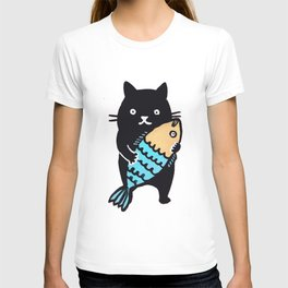 kitty with fish T-shirt