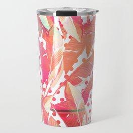 Abstract pink coral green watercolor polka dots banana leaves Travel Mug