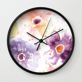 Watercolor Flowers Painting Wall Clock