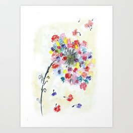 Dandelion watercolor illustration, rainbow colors, summer, free, painting Art Print