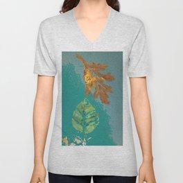 Two leaves, painted acrylic Unisex V-Neck