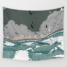 Stormy seas Wall Tapestry