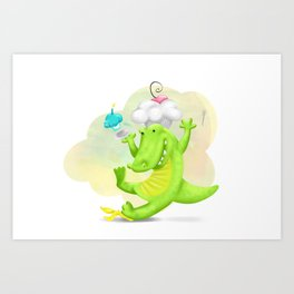 Slippery gator Art Print