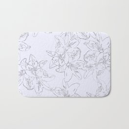 lavender line art floral pattern Bath Mat