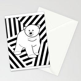 Polar bear on a striped background Stationery Cards