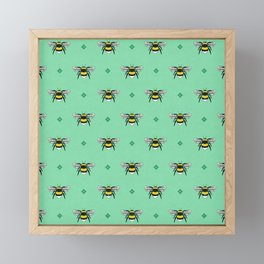 Bumblebees on Spearmint Framed Mini Art Print