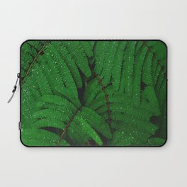 Layers Of Wet Green Fern Leaves Patterns In Nature Laptop Sleeve