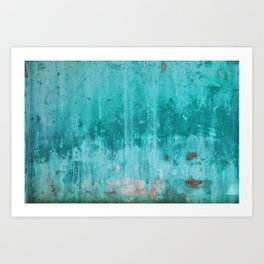 Weathered turquoise concrete wall texture Art Print