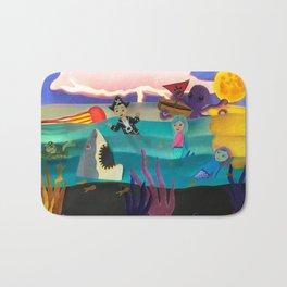 Little Pirate Shipwrecked in Mermaid Land Paper Art Bath Mat