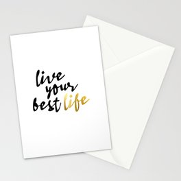 Live Your Best Life Typography Stationery Cards