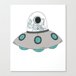 Cool Astronaut On Spaceship UFO Alien Science Fiction Canvas Print