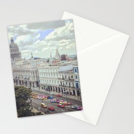 Overview of Havana main street and Capitolio Stationery Cards