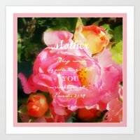 verse Art Prints featuring Roses - Verse by Anita Faye