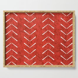 Red And White Big Arrows Mud cloth Serving Tray