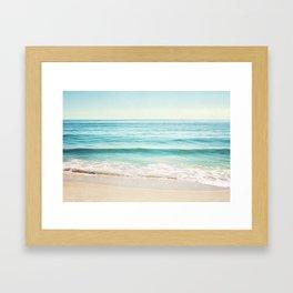 Ocean Seascape Photography, Aqua Beach Sea Landscape, Turquoise Teal Coastal Waves Framed Art Print