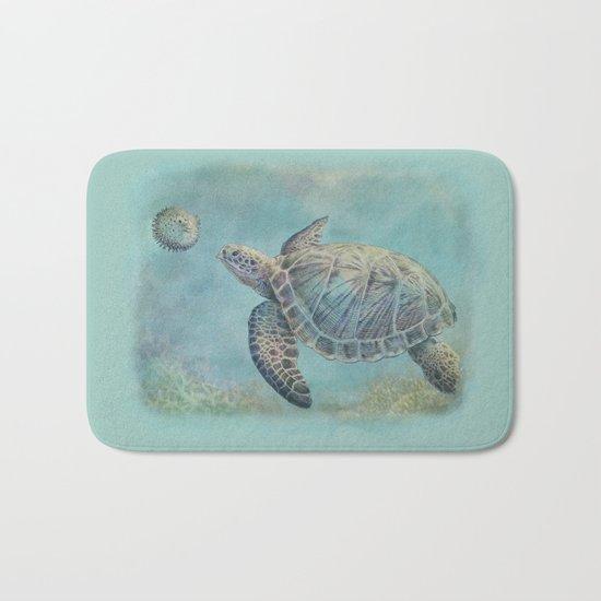 A Curious Friend (sea turtle variation) Bath Mat