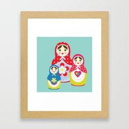 Turquoise babushka , matryoshka , russian doll , nursery decor , children gift, birthday gift Framed Art Print