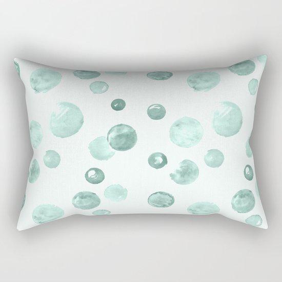 Aqua Sky Watercolors Polka Dots Rectangular Pillow
