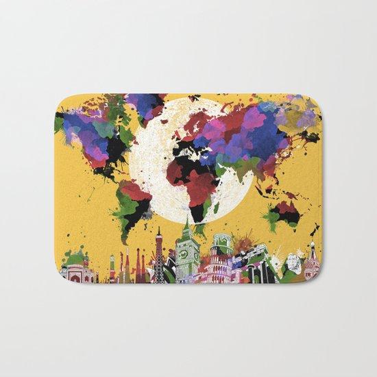 world map watercolor yellow Bath Mat