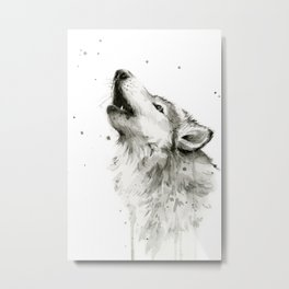 Wolf Howling Watercolor Animals Painting Black and White Metal Print