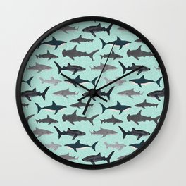 Sharks nature animal illustration texture print marine biologist sea life ocean Andrea Lauren Wall Clock
