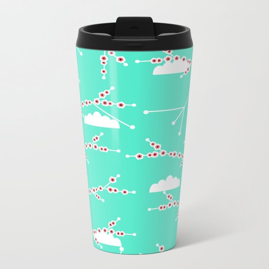 Branches in blue Metal Travel Mug