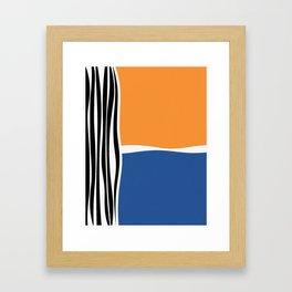 Irregular Shapes & Stripes / Orange & Blue Framed Art Print